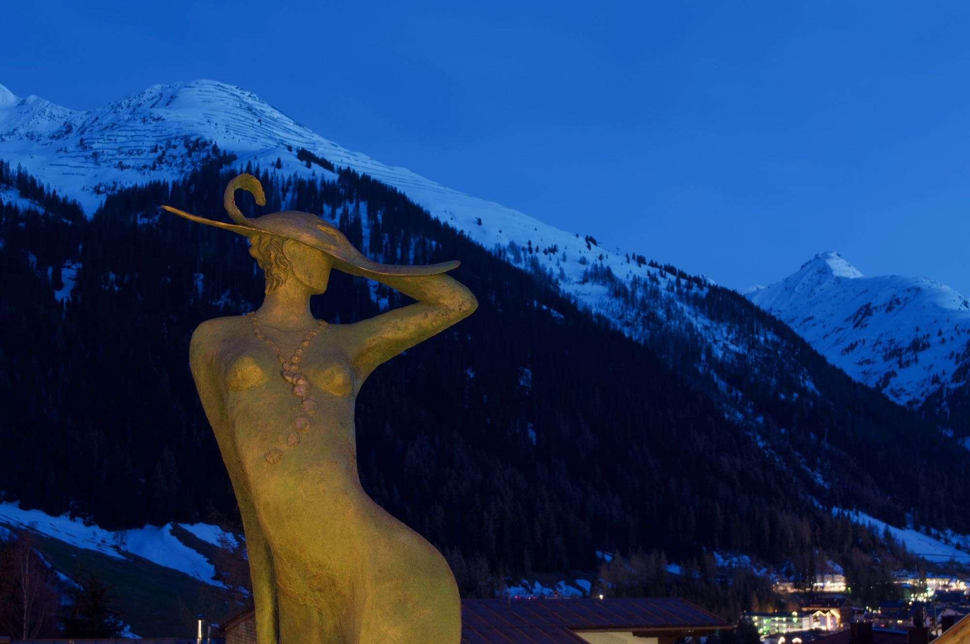 Artemis statue at dusk