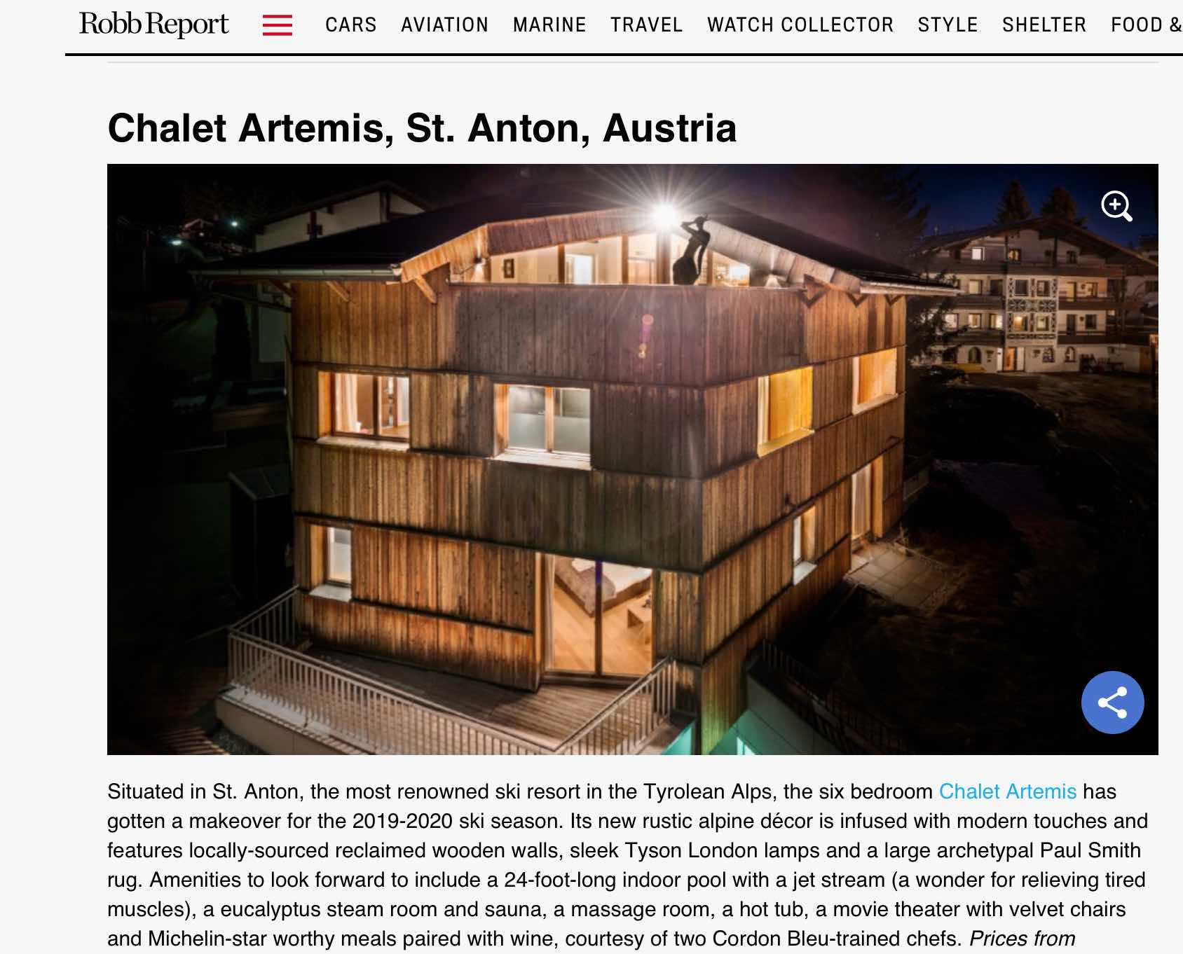 Robb Report article Chalet Artemis image