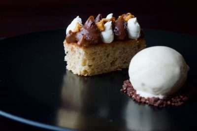 Hazlenut cake, chocolate & Frangelico ice cream